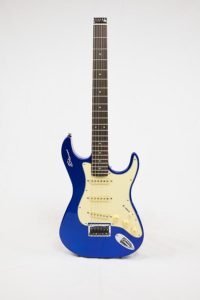 Stewart Guitars Stow-Away Blue Pearl connected front